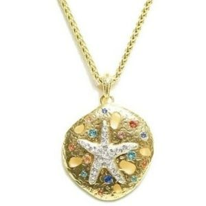 KENNETH LANE Gold Tone Starfish Pendant Necklace